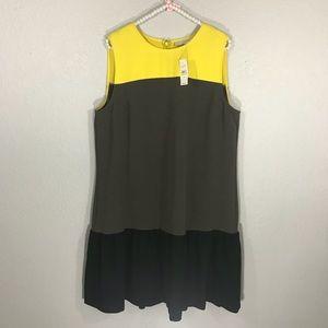 Ann Taylor Loft peplum yellow brown black dress